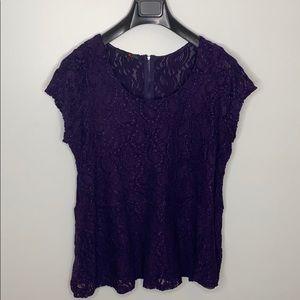 MXM purple lace peplum short sleeve top size 2X